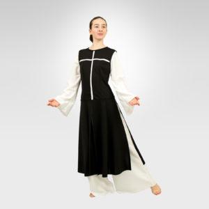 Power of Belief liturgical dance overdress black-white cross