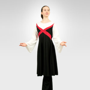 Revelation liturgical dance white-red-black dress