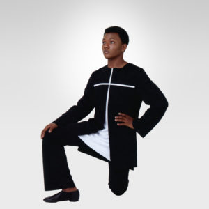 Strength of Fate praise dance tunic black-white cross