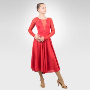 Duet ice dance latin, dance dress red