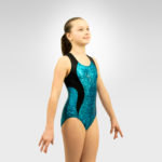 Gymnastics racer back tank leotard-with-insets
