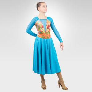 Valseana ice dance latin, dance dress turquoise